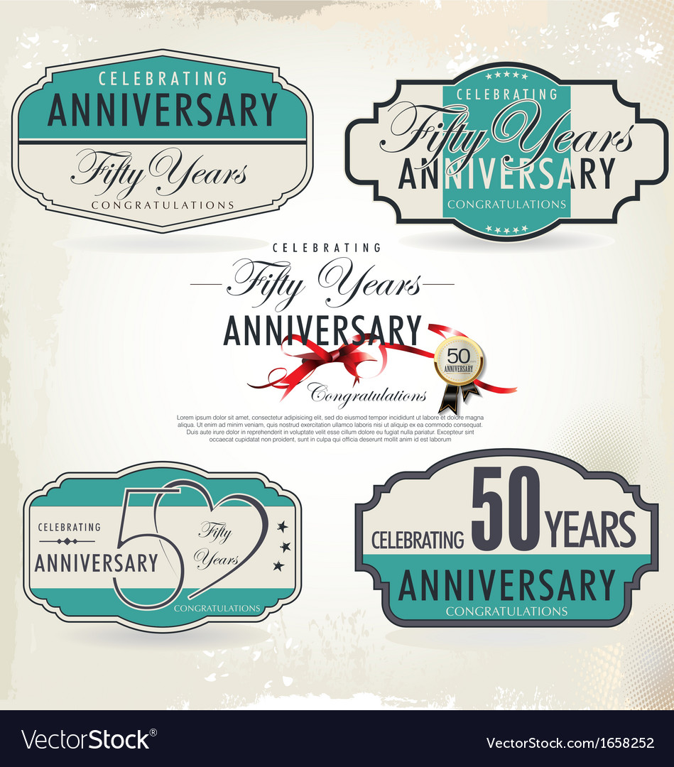 50 years anniversary retro labels vector | Price: 1 Credit (USD $1)