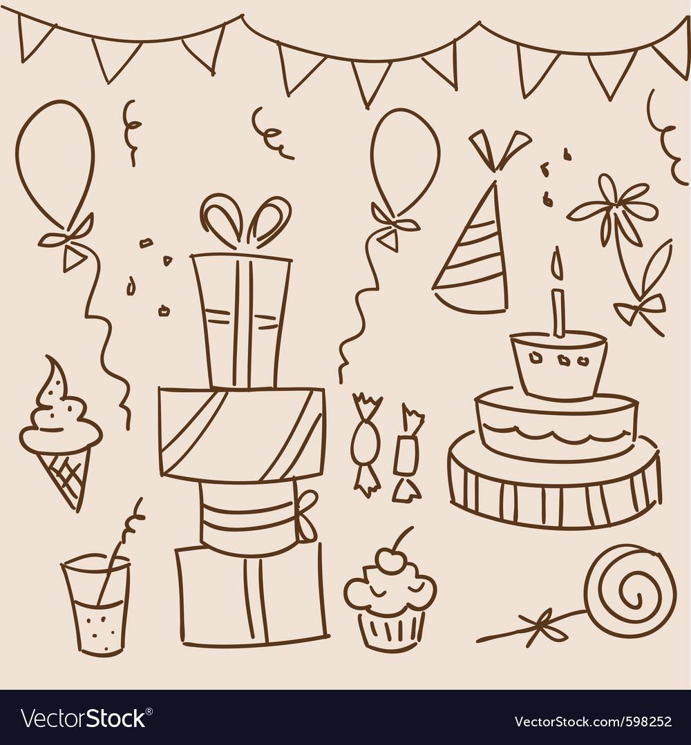 Birthday sketches vector | Price: 1 Credit (USD $1)