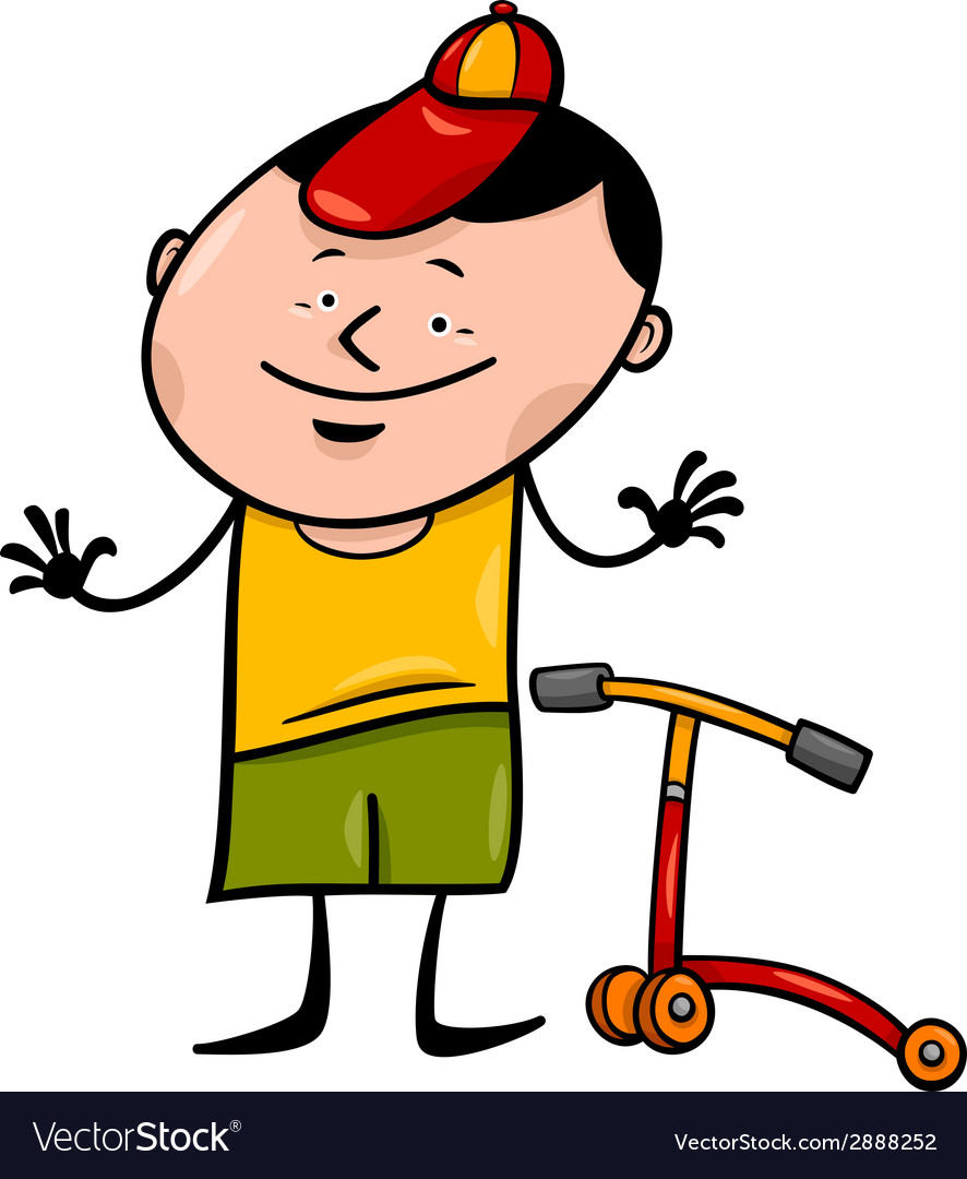 Boy with scooter cartoon vector | Price: 1 Credit (USD $1)