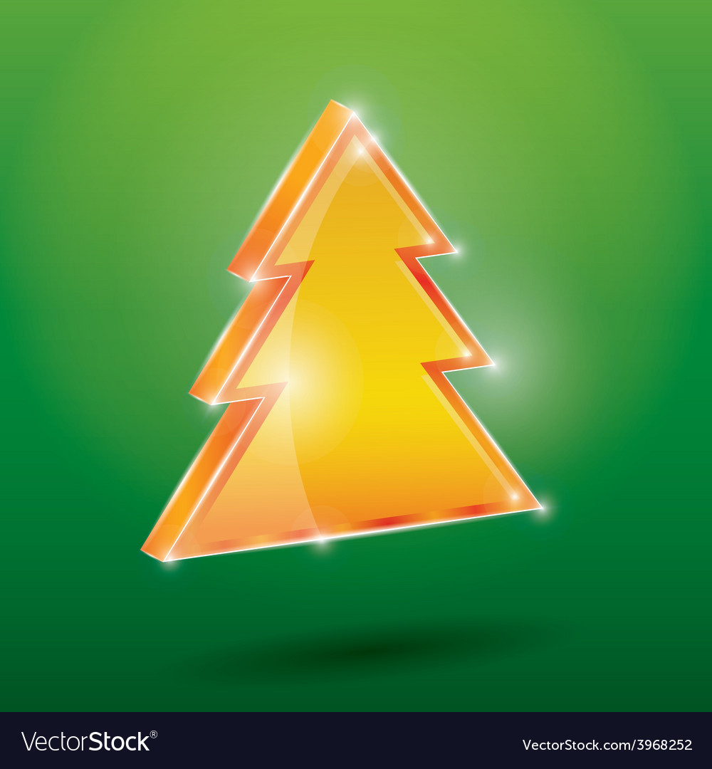 Golden fir 3 d on a green background new year vector | Price: 1 Credit (USD $1)