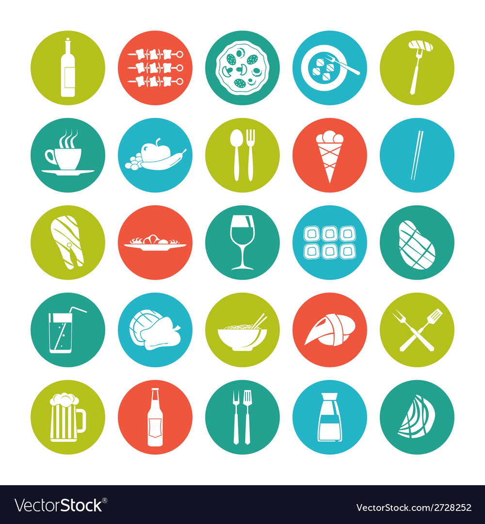 Icon set summer food vector | Price: 1 Credit (USD $1)