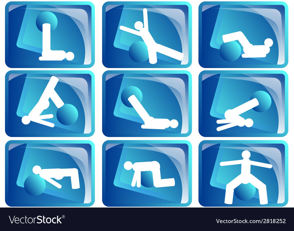 Pilates icon set vector | Price: 1 Credit (USD $1)