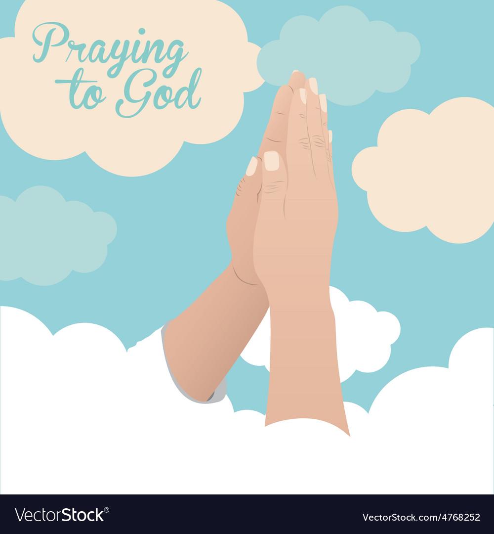 Praying to god design vector   Price: 1 Credit (USD $1)