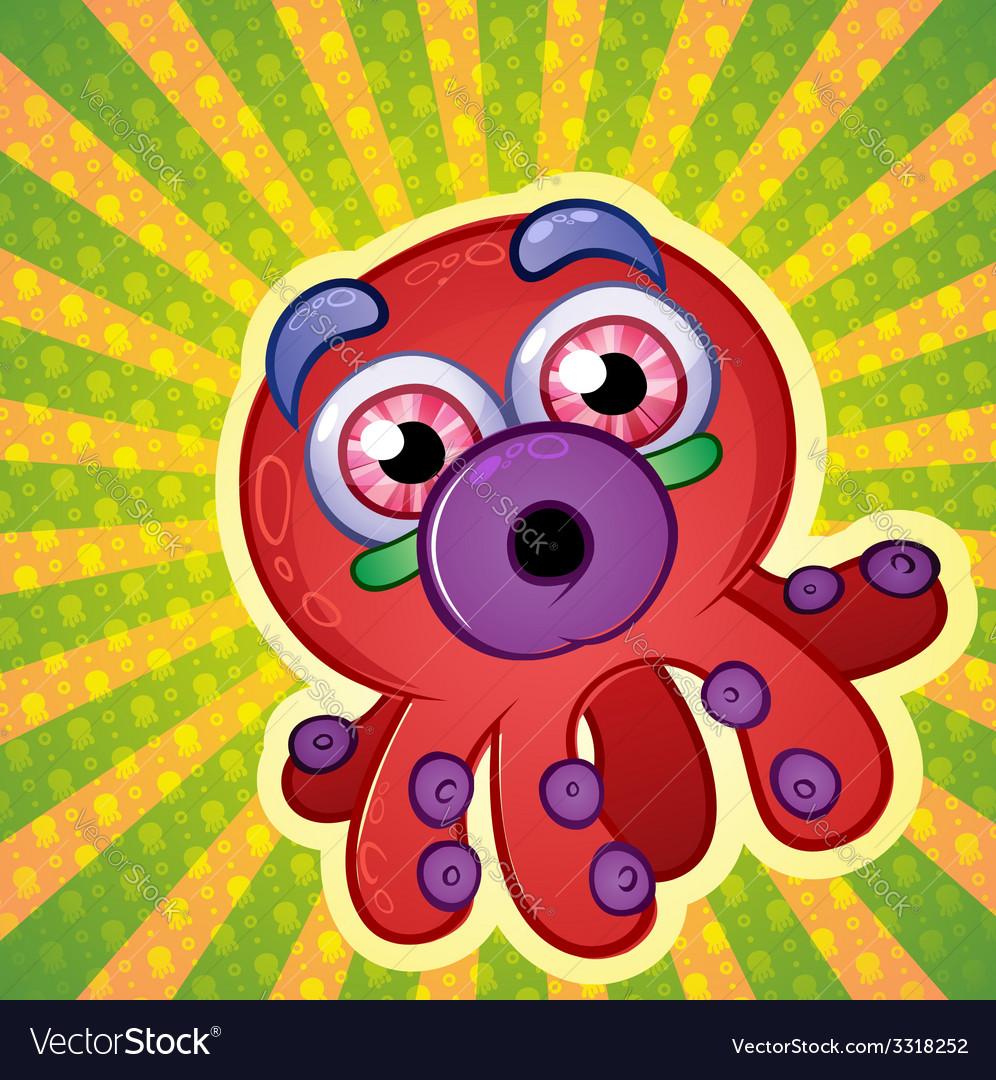 Rainbow octopus cartoon character vector | Price: 3 Credit (USD $3)
