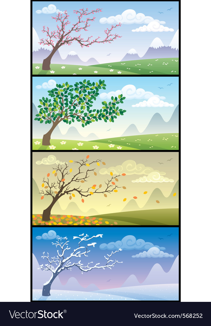 Season landscapes vector | Price: 1 Credit (USD $1)