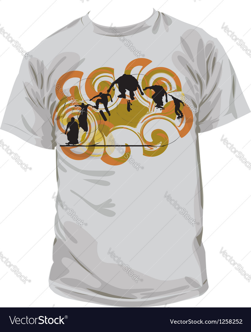 Skater t-shirt vector | Price: 1 Credit (USD $1)
