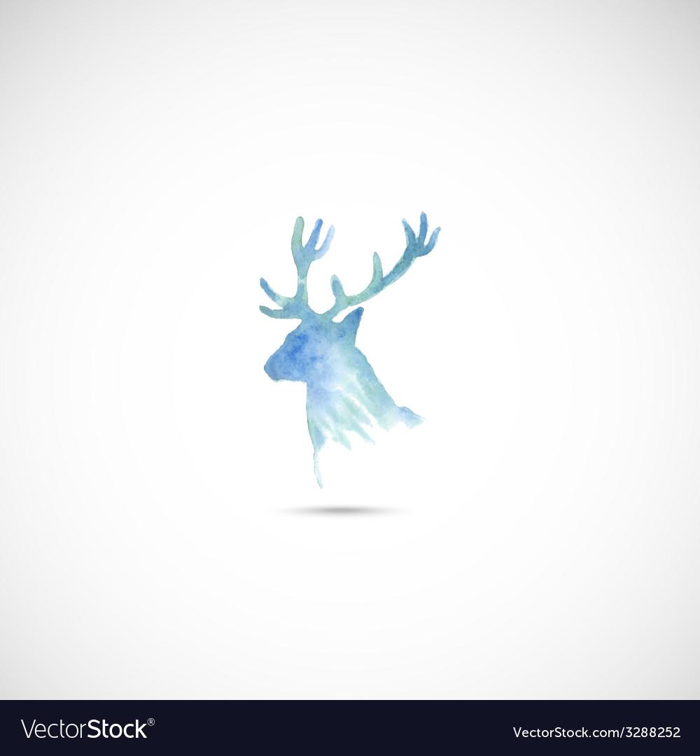 Watercolor deer head vector | Price: 1 Credit (USD $1)