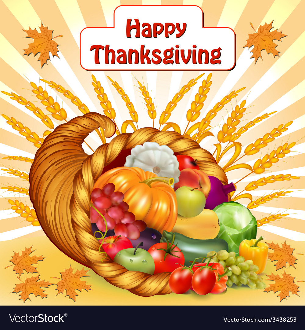 Card for thanksgiving with a cornucopia of fruits vector | Price: 1 Credit (USD $1)