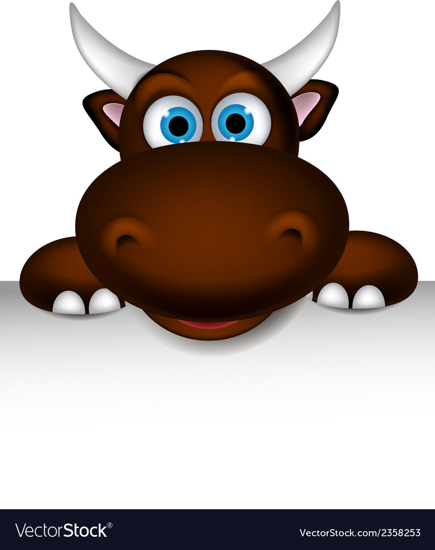 Cute buffalo cartoon posing with blank sign vector | Price: 1 Credit (USD $1)