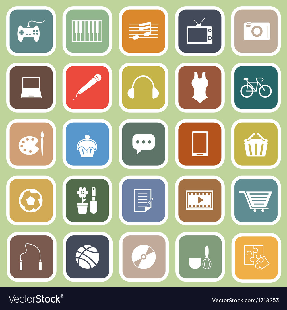 Hobby flat icons on green background vector | Price: 1 Credit (USD $1)