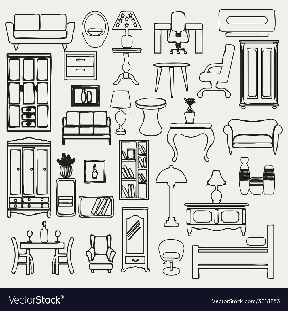 Interior icons flat doodle furniture and interior vector   Price: 1 Credit (USD $1)