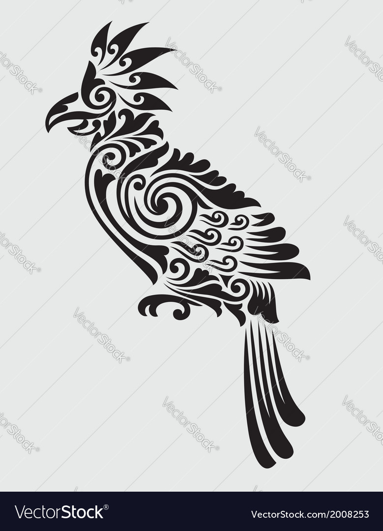Parrot floral decorative ornament vector | Price: 1 Credit (USD $1)