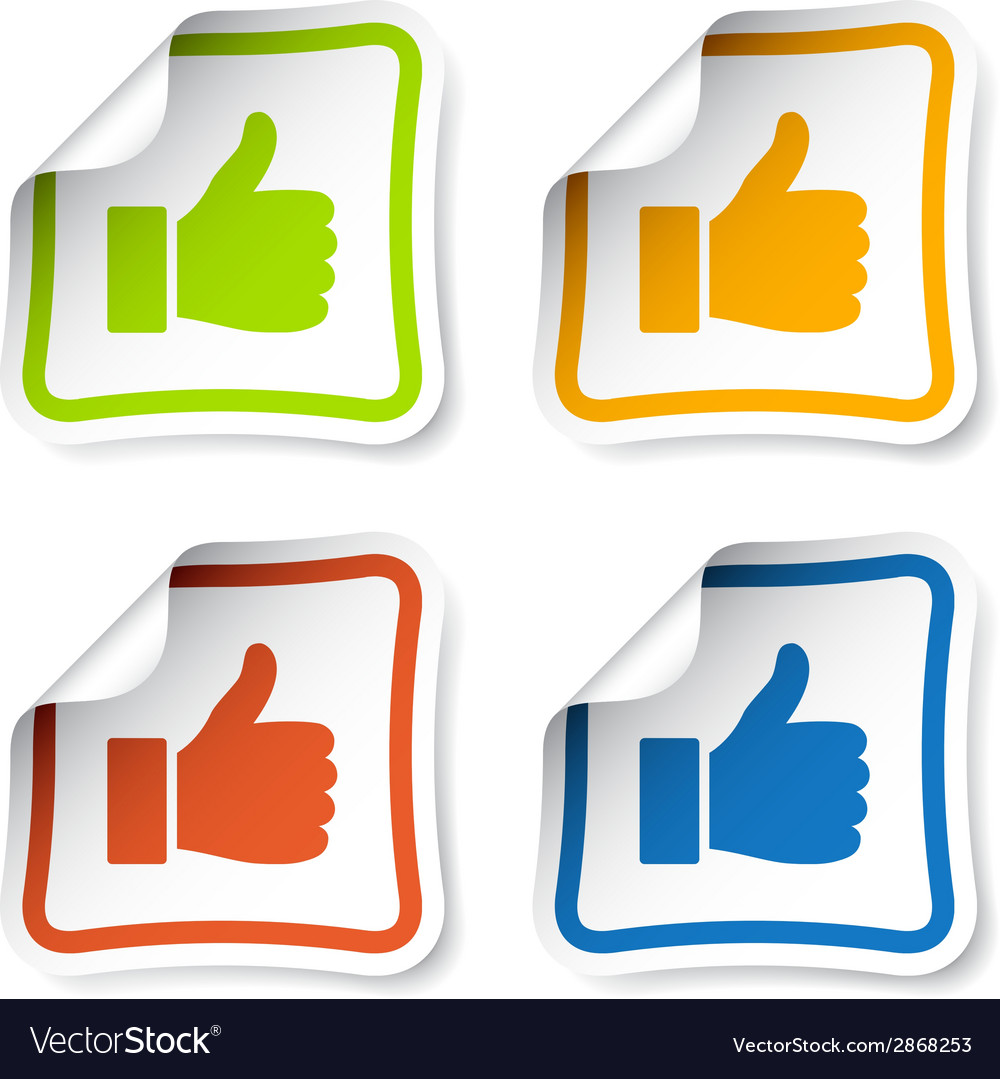 Thumb up stickers vector | Price: 1 Credit (USD $1)
