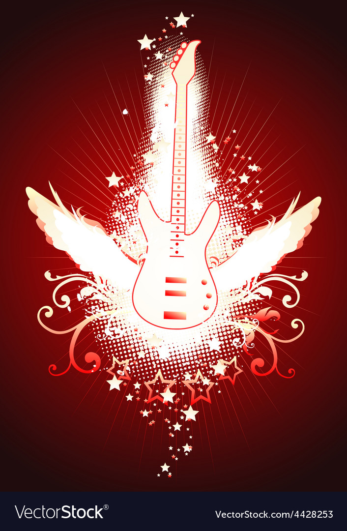 Winged guitar vector | Price: 1 Credit (USD $1)