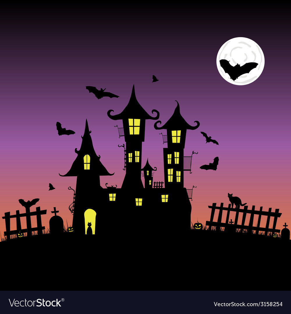 Castle with bats six vector | Price: 1 Credit (USD $1)