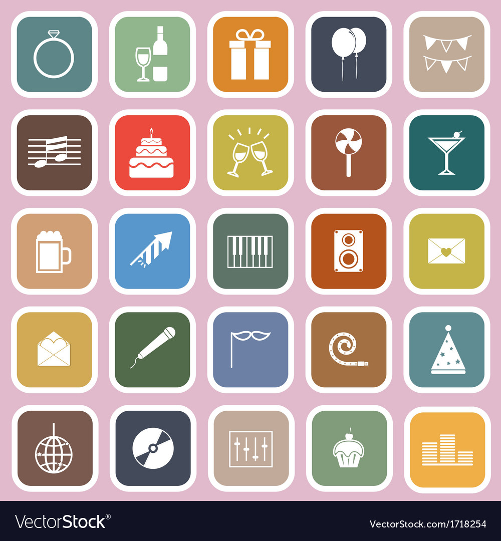 Celebration flat icons on pink background vector   Price: 1 Credit (USD $1)