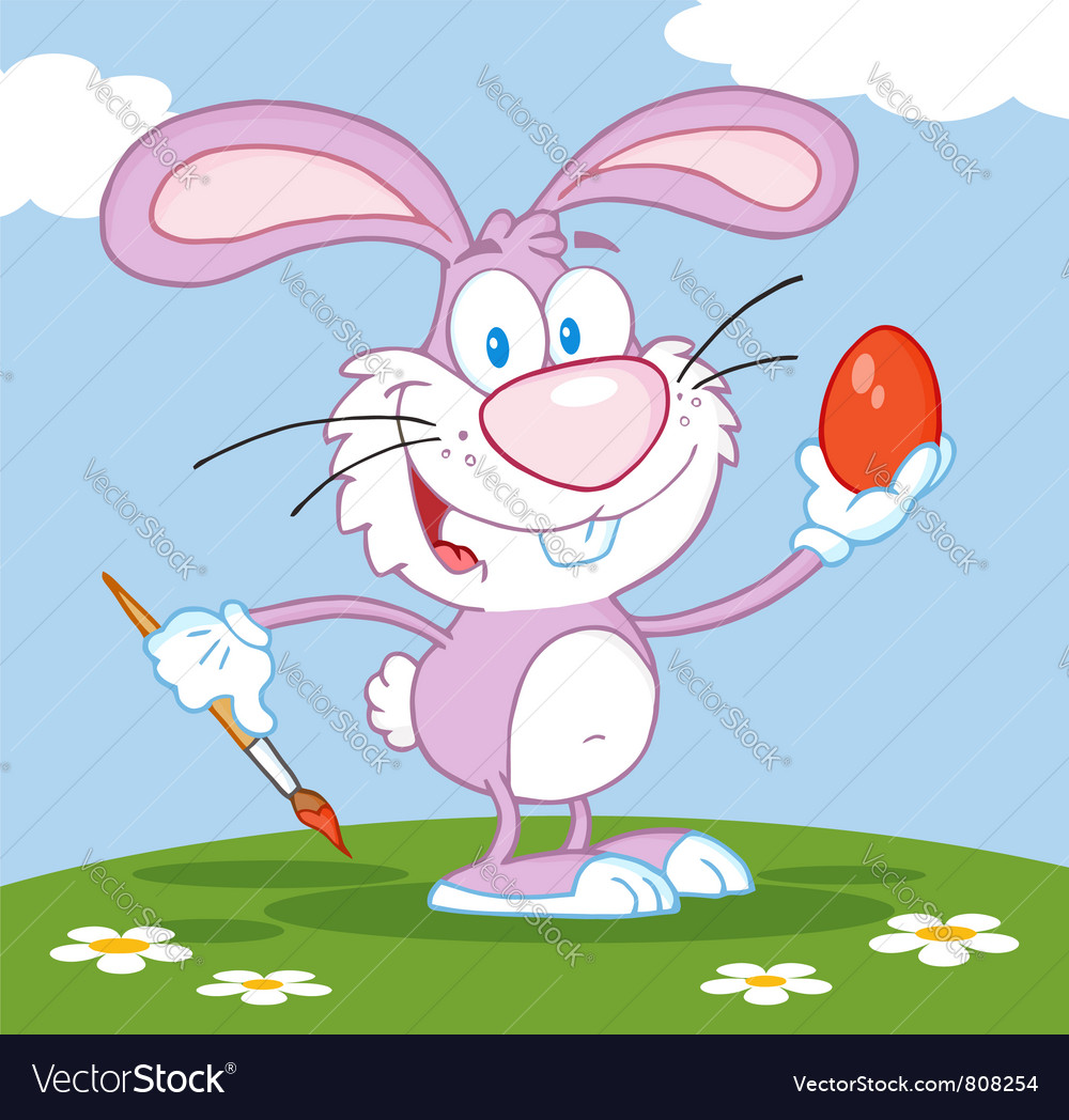 Happy pink rabbit painting easter egg vector | Price: 1 Credit (USD $1)