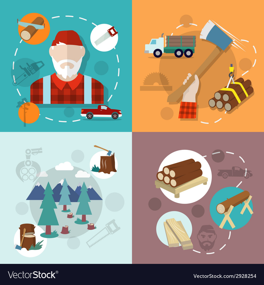 Lumberjack woodcutter composition vector | Price: 1 Credit (USD $1)