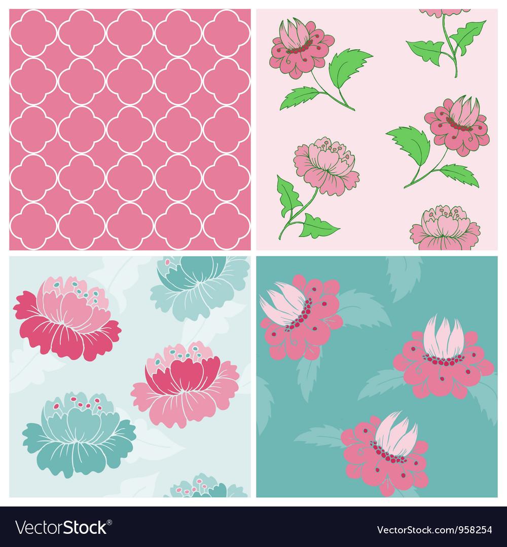 Set of seamless vintage floral backgrounds vector   Price: 1 Credit (USD $1)