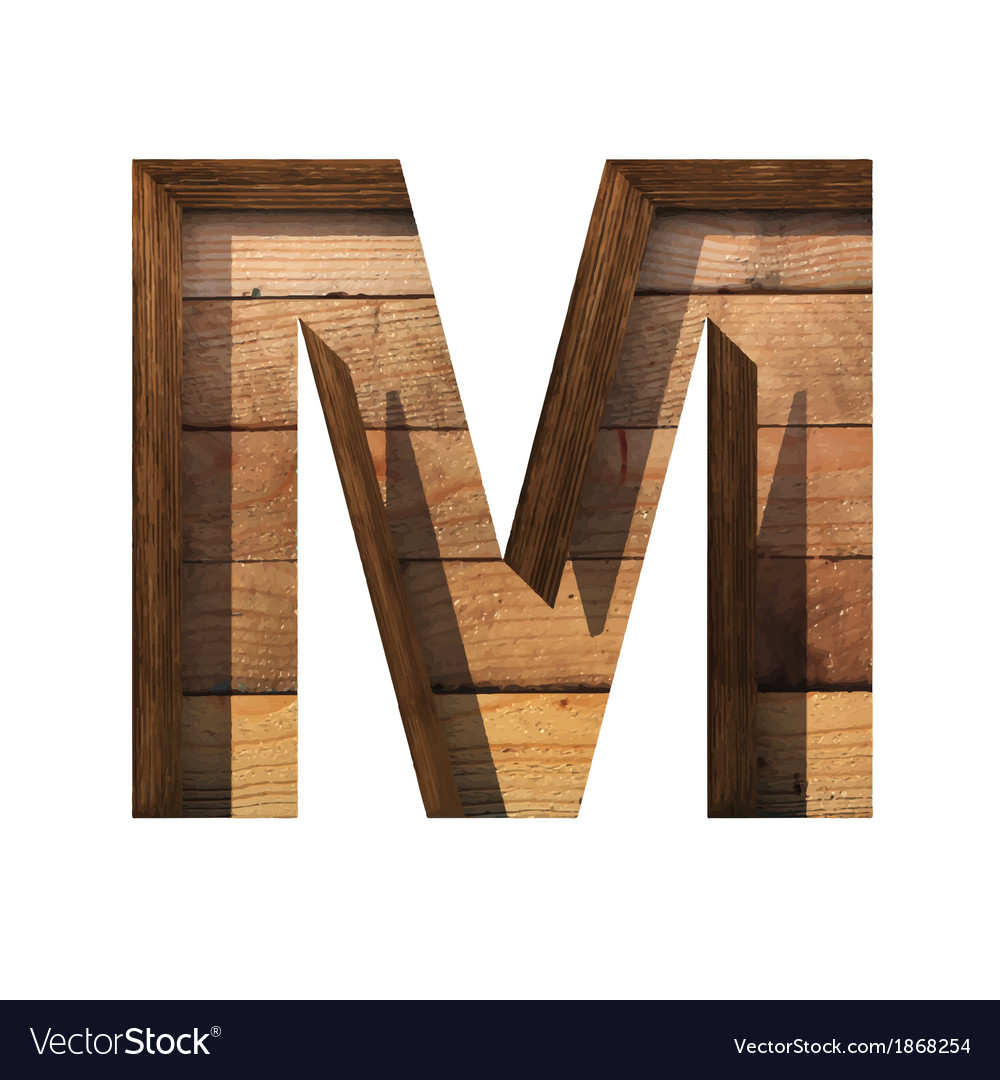 Wooden cutted figure m paste to any background vector | Price: 1 Credit (USD $1)
