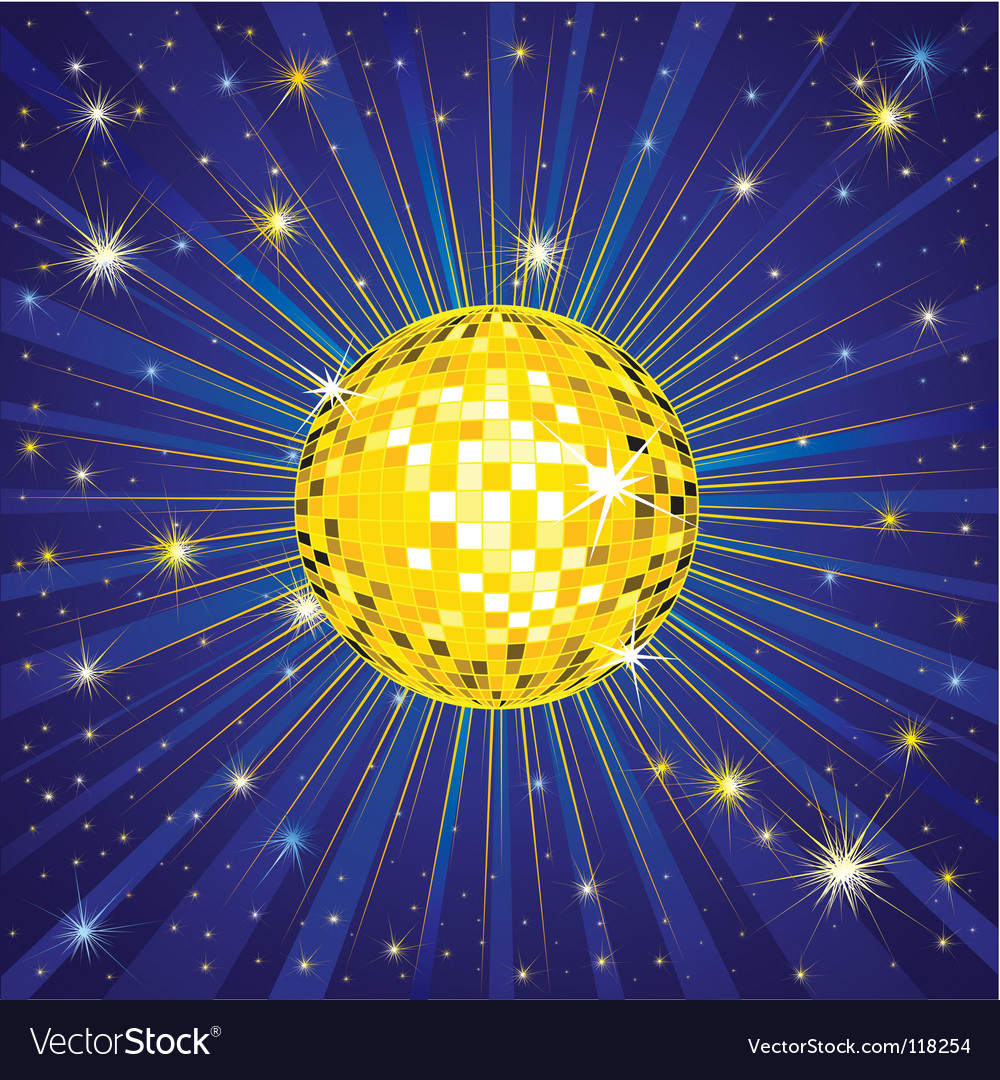 Yellow shining disco ball vector | Price: 1 Credit (USD $1)
