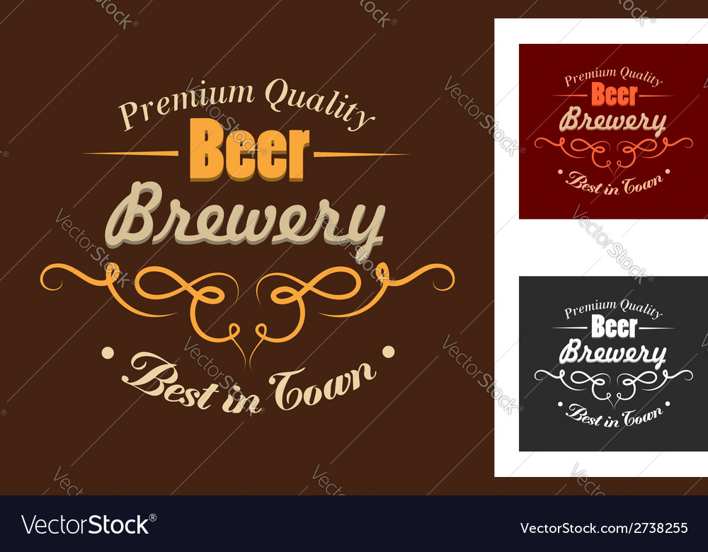 Brewery emblem or logo in retro style vector | Price: 1 Credit (USD $1)
