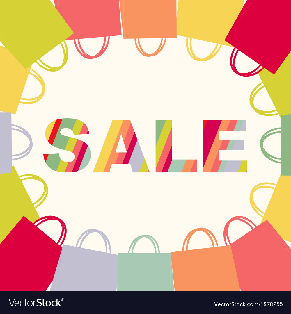 Bright sale poster with bags vector | Price: 1 Credit (USD $1)