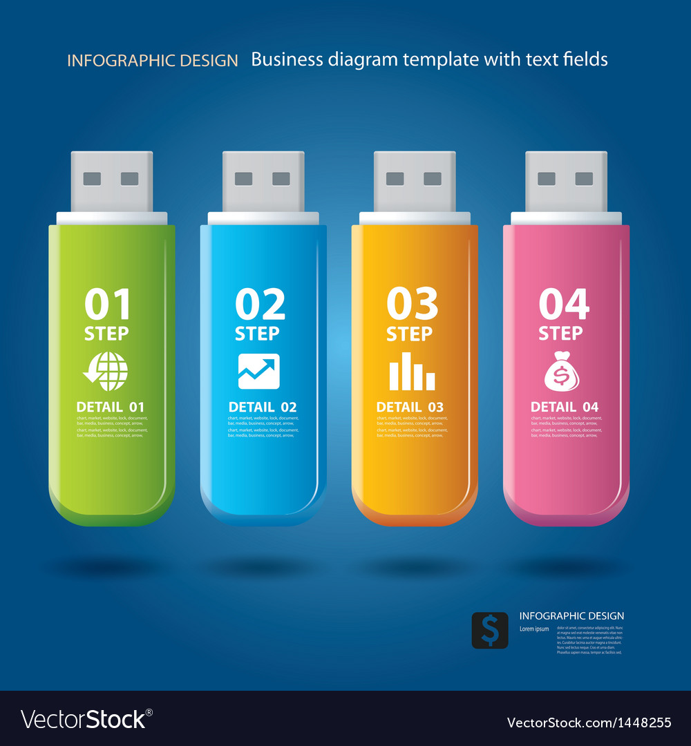 Business step and numbers design on thumb drive vector | Price: 1 Credit (USD $1)
