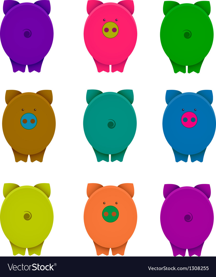 Cartoon graphic crazy pigs with snouts vector | Price: 1 Credit (USD $1)