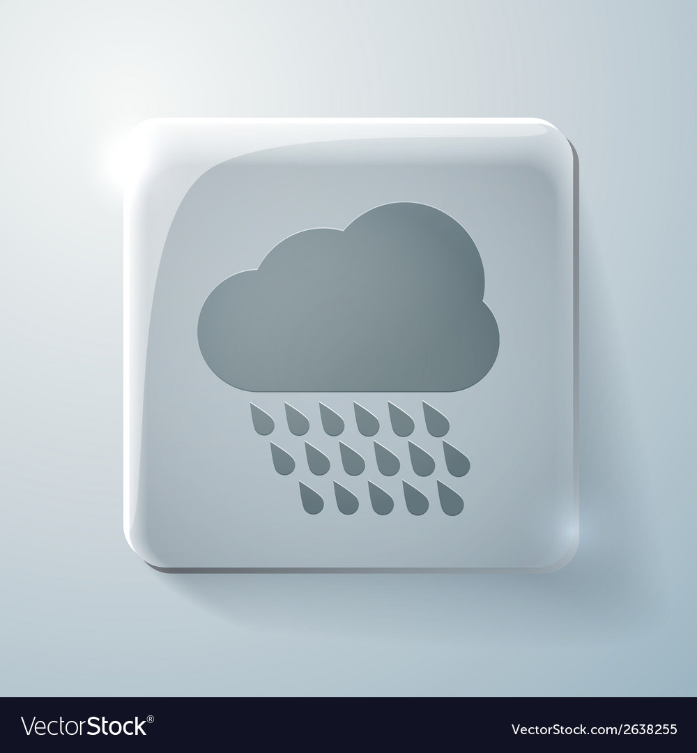 Cloud rain glass square icon with highlights vector | Price: 1 Credit (USD $1)
