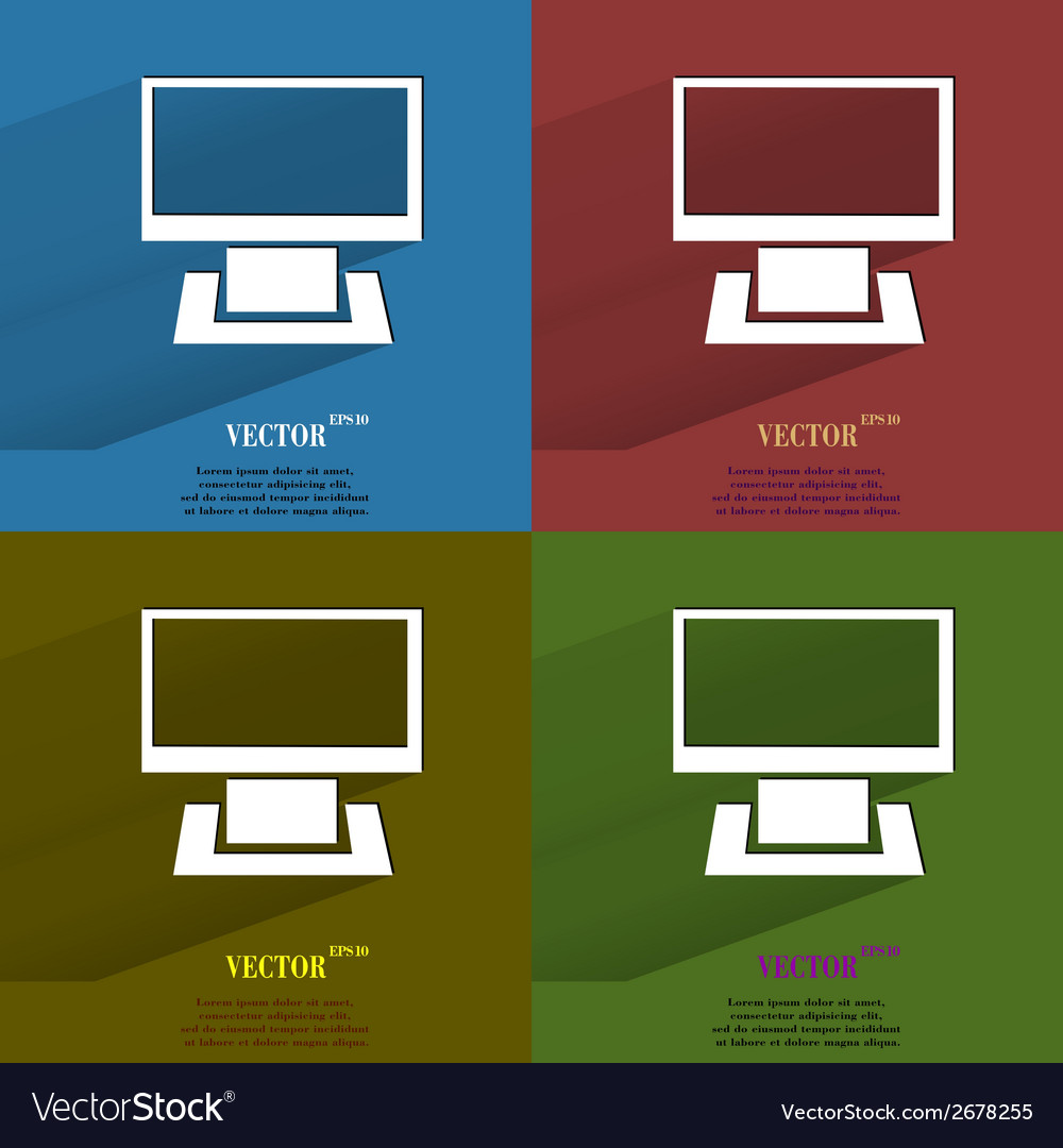 Color set computer flat modern web button with vector | Price: 1 Credit (USD $1)
