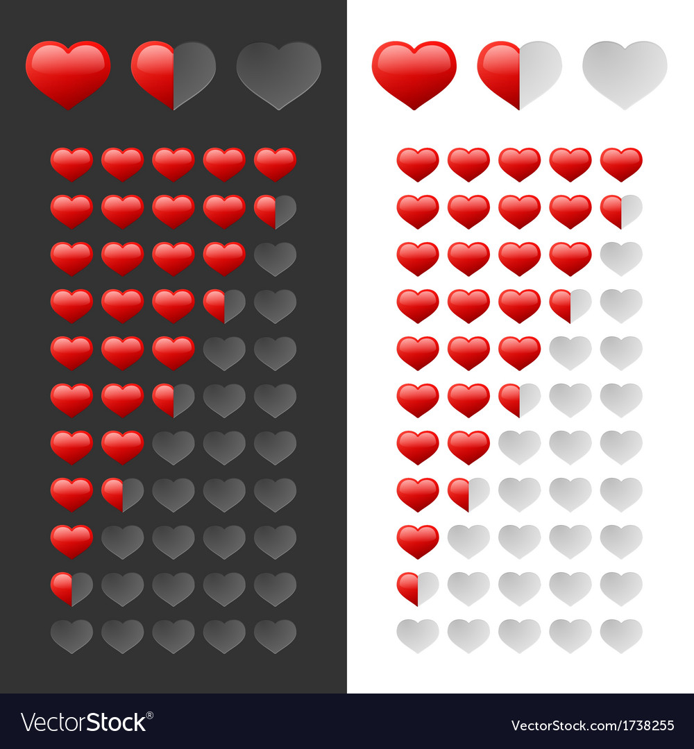 Rating hearts set vector | Price: 1 Credit (USD $1)