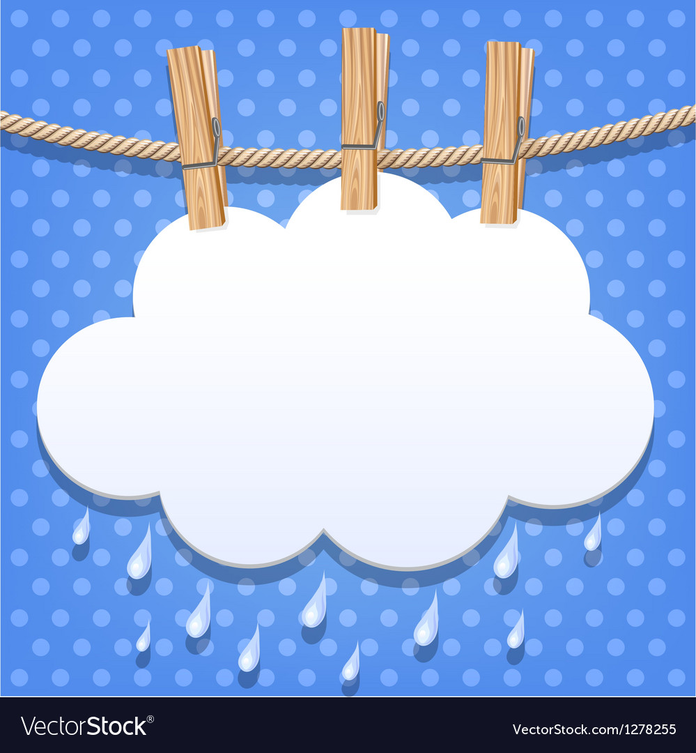 White paper cloud on a clothesline vector | Price: 1 Credit (USD $1)