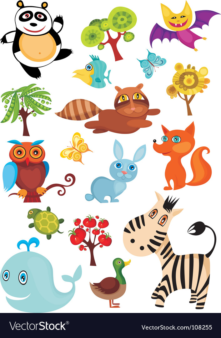 Wild animal set vector | Price: 1 Credit (USD $1)