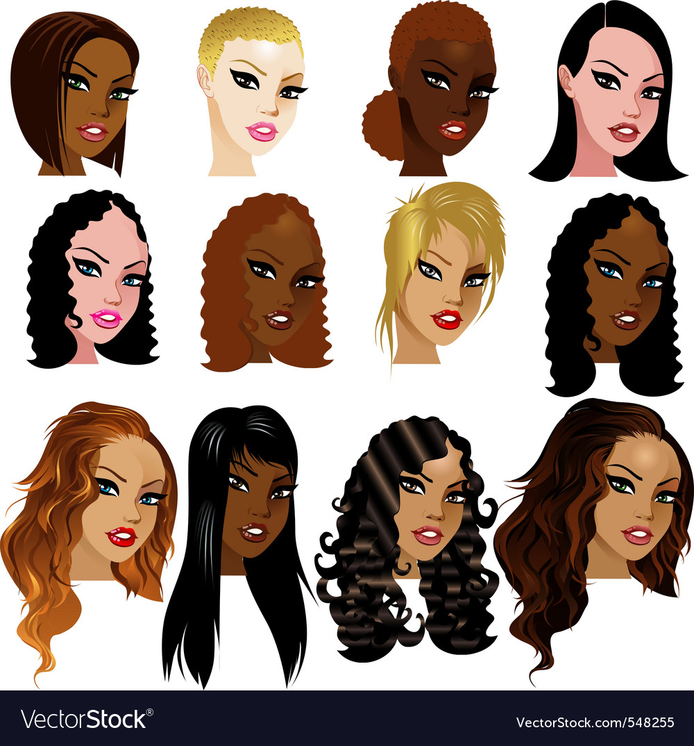 Woman faces vector | Price: 3 Credit (USD $3)