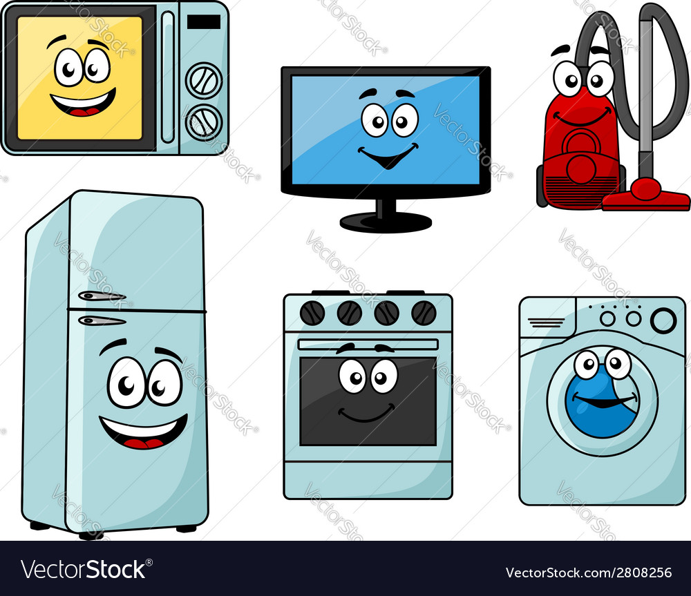 Cartoon household appliances set vector | Price: 1 Credit (USD $1)
