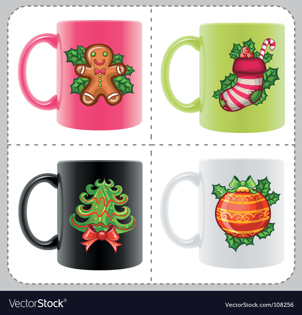 Christmas cups vector | Price: 3 Credit (USD $3)