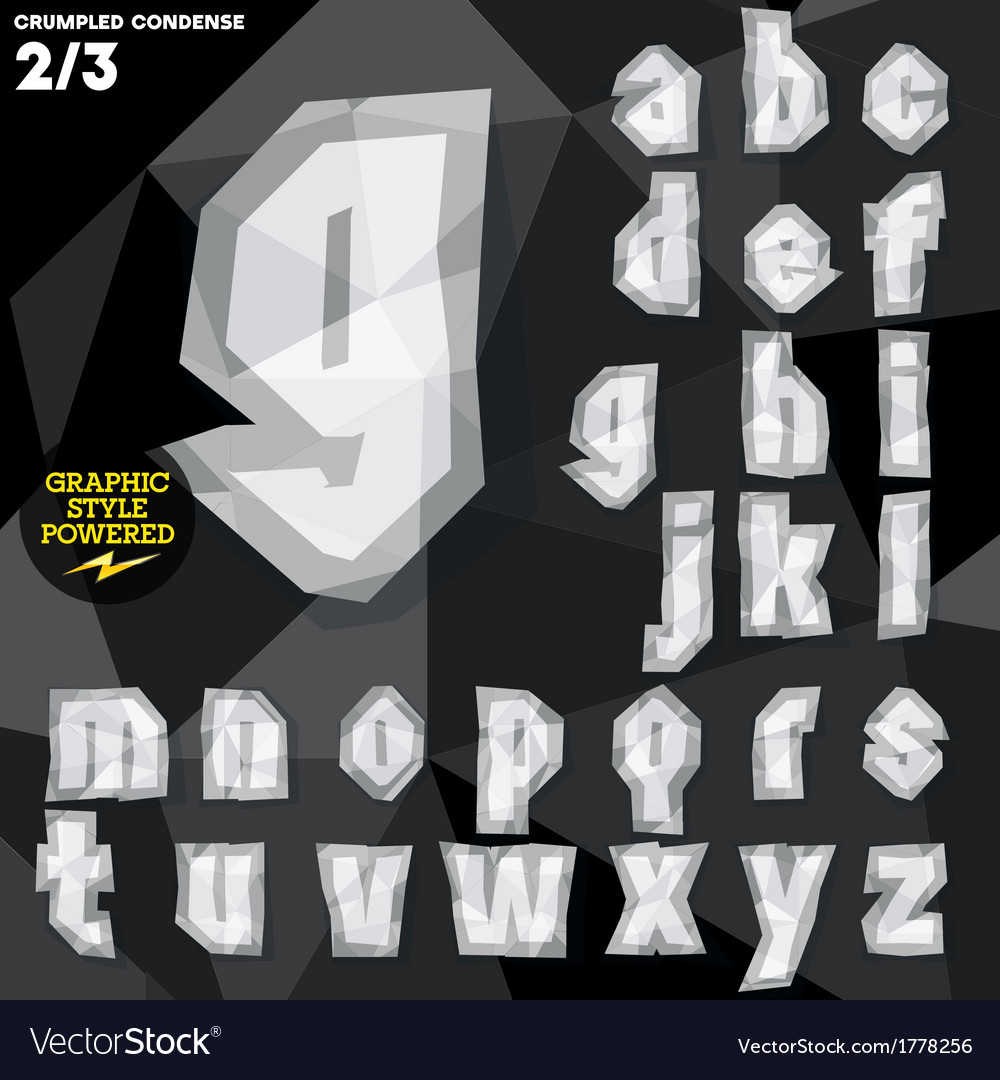 Crumpled paper alphabet vector   Price: 1 Credit (USD $1)