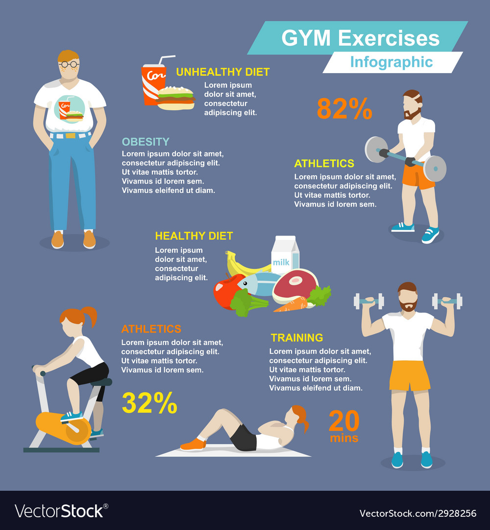 Gym sport exercises infographic vector | Price: 1 Credit (USD $1)
