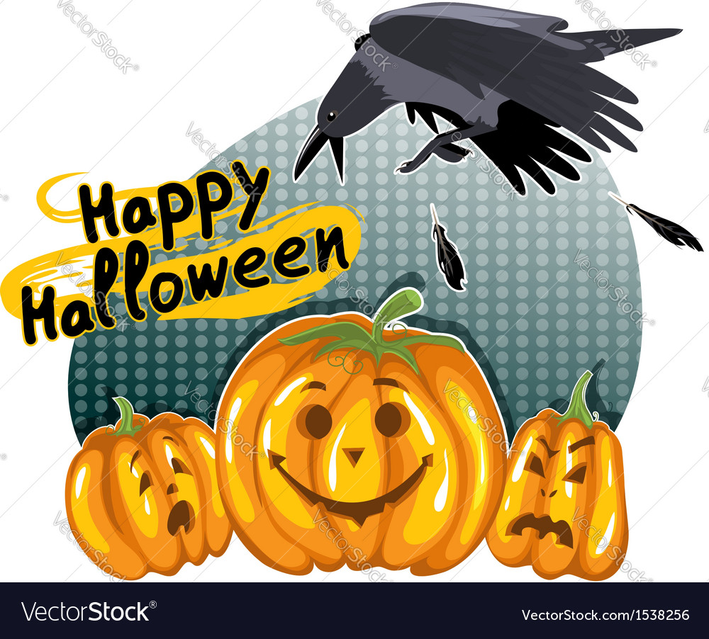 Halloween background with funny pumpkins and crow vector | Price: 1 Credit (USD $1)
