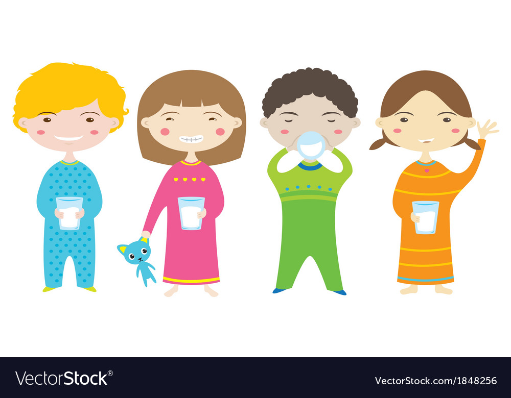 Happy children drinking milk before bedtime vector | Price: 1 Credit (USD $1)