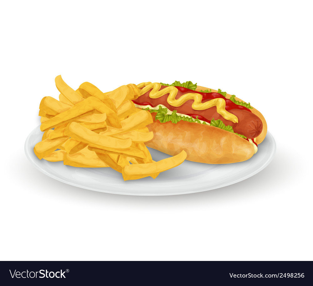 Hot dog french fries vector | Price: 1 Credit (USD $1)