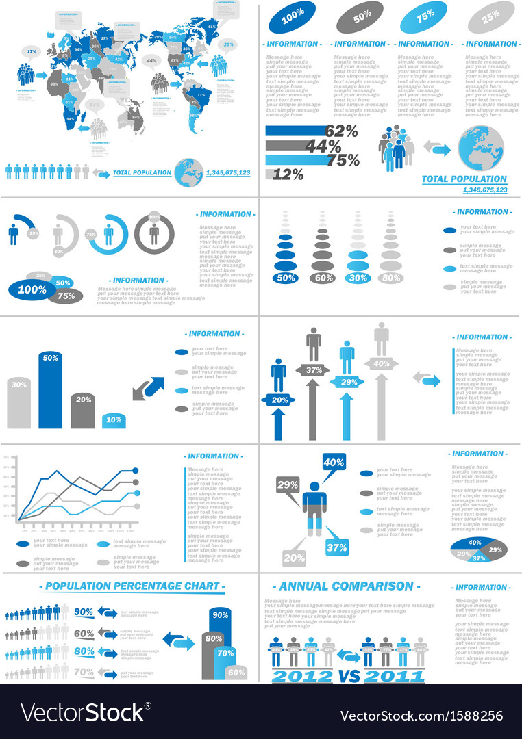 Infographic demographics web elements blue vector | Price: 1 Credit (USD $1)