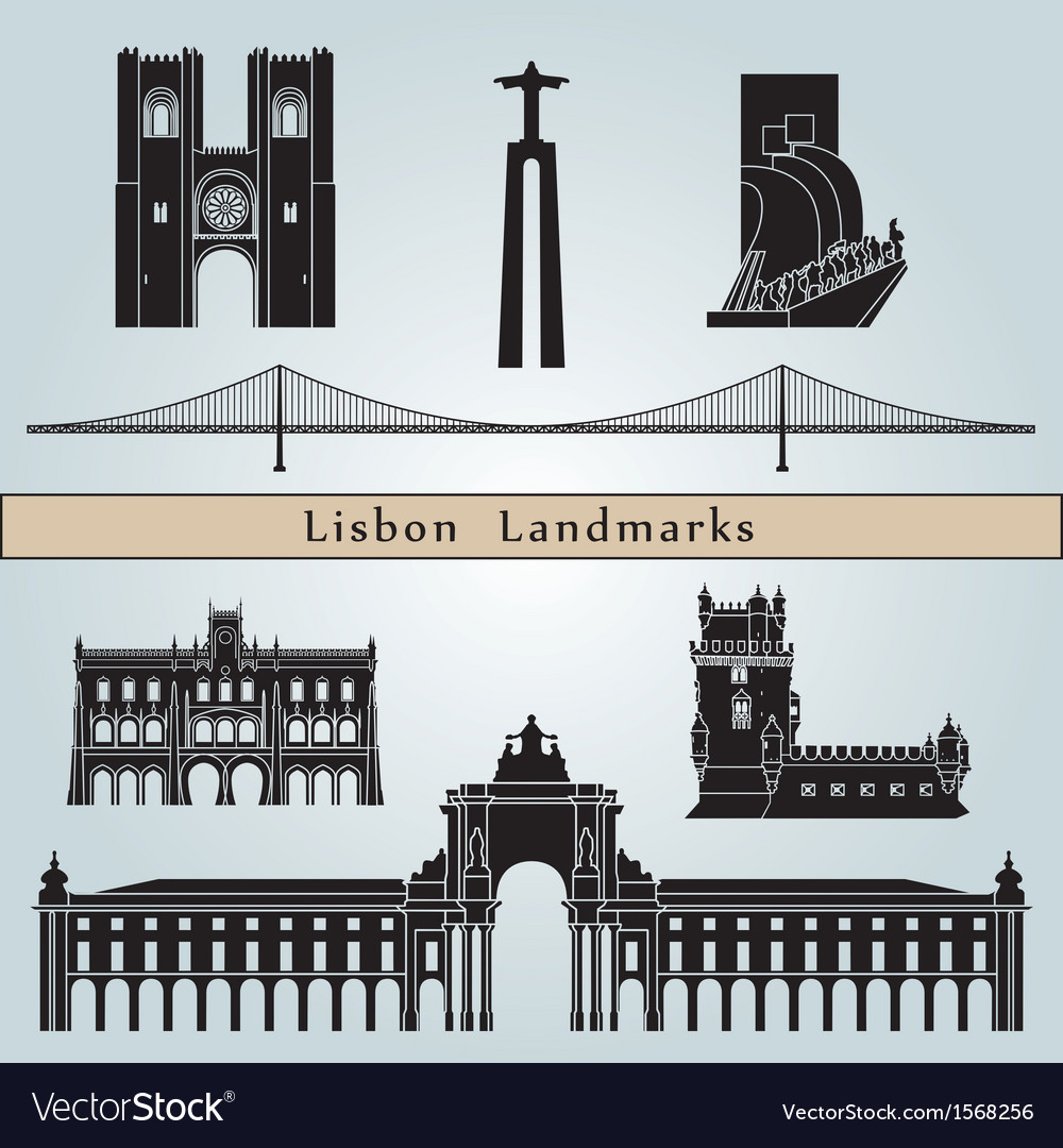 Lisbon landmarks and monuments vector | Price: 1 Credit (USD $1)