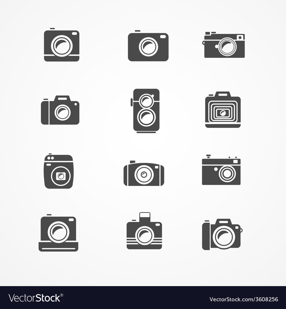 Photo camera retro and new icon set vector | Price: 1 Credit (USD $1)