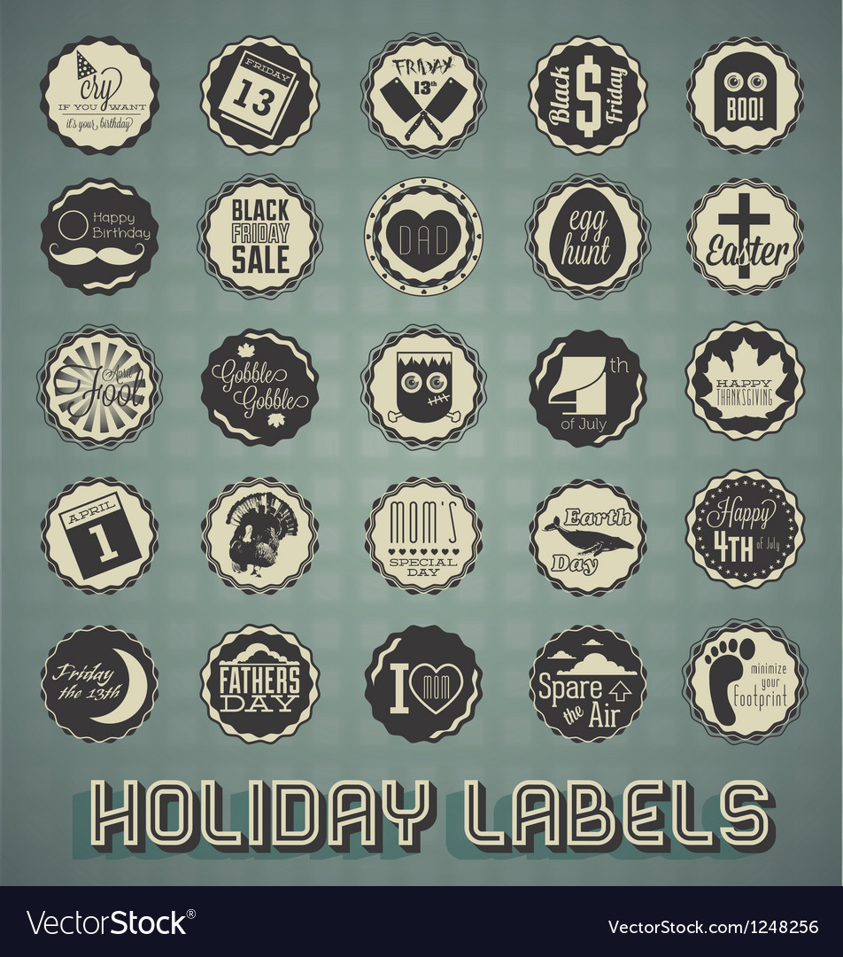 Set mix of holiday labels vector | Price: 3 Credit (USD $3)