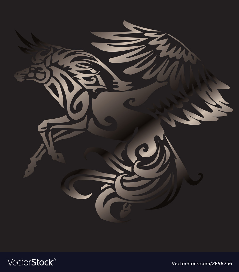 Unicorn with wing vector | Price: 1 Credit (USD $1)