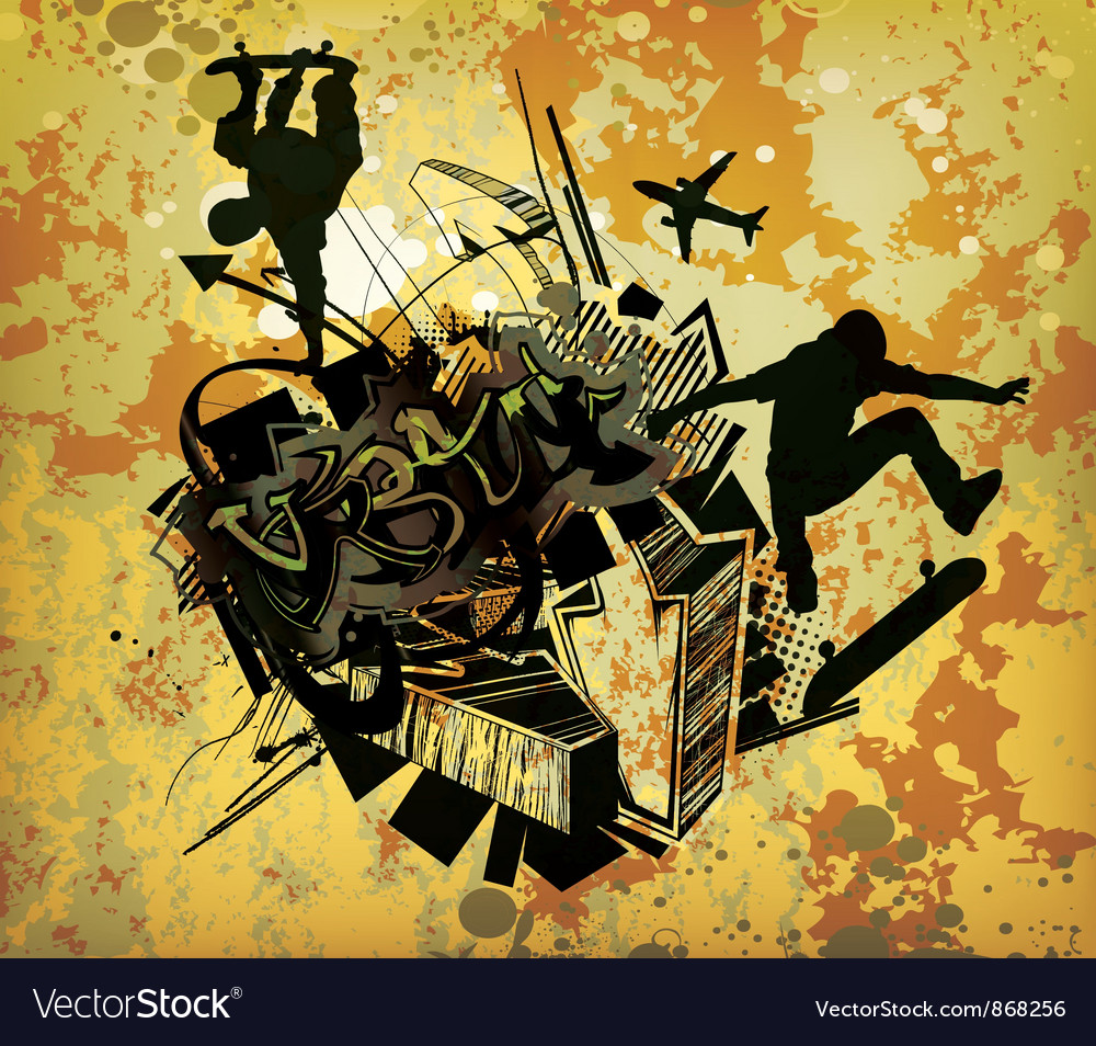 Urban poster with skaters vector | Price: 1 Credit (USD $1)
