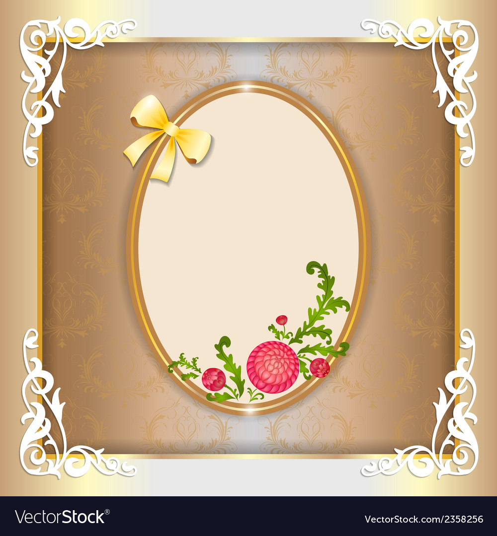 Vintage paper frame with floral ornament vector | Price: 1 Credit (USD $1)