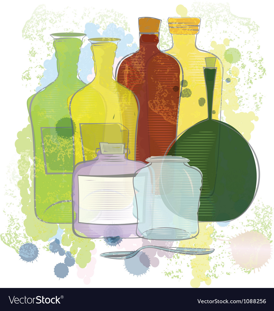 Water color yellow red green bottles vector | Price: 1 Credit (USD $1)